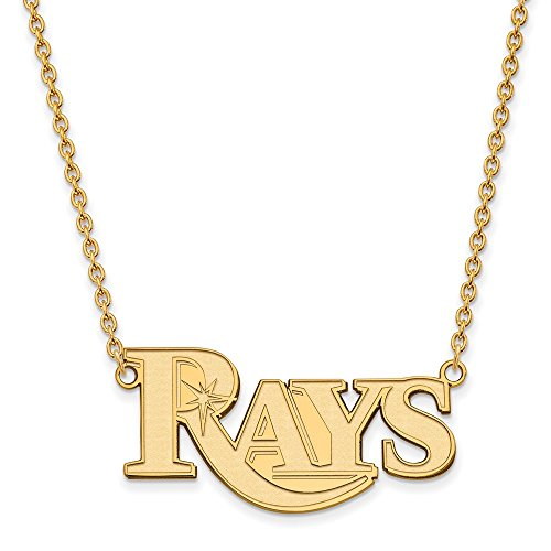 Roy Rose Jewelry 14K Yellow Gold MLB LogoArt Tampa Bay Rays Large Pendant ()