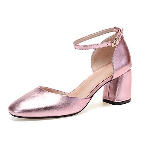 Chaussures Baotou Taille Rose Femmes EU37 Color Gun Femmes Talons Sandales Rose CN37 Mi MUMA 5 Gun Couleur Creux Hauts Talon Escarpin 5 à Couleur UK4 Chaussures Sauvages qPzwOR