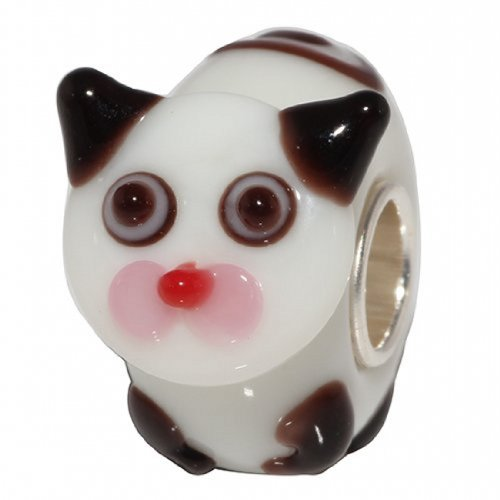 Beads Hunter Jewelry Playful Pet Murano Glass Bead with Solid Sterling Silver Tube .925 Stamped Lzhngb011
