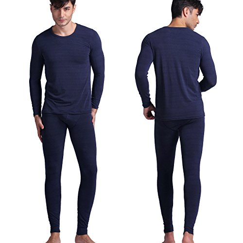 D&P Men's 2 Piece Cozy Thermal Underwear Long Johns Top And Bottom Set (L, Royal Blue) by D&P