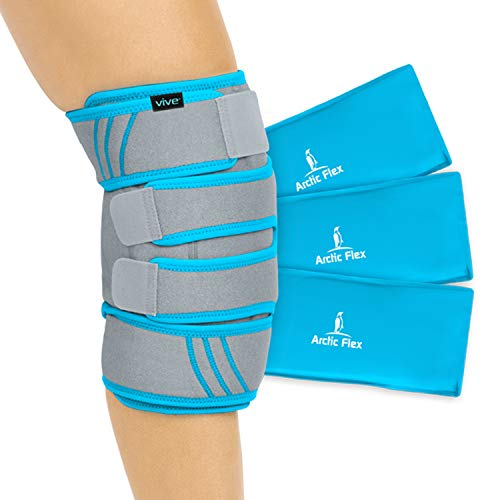 Vive Knee Ice Pack Wrap - Cold/Hot Gel Compression Brace - Heat Support Strap for Arthritis Pain, Tendonitis, ACL, Athletic Injury, Osteoarthritis, Women, Men, Running, Meniscus and Patella Surgery (Best Ice Pack After Knee Surgery)