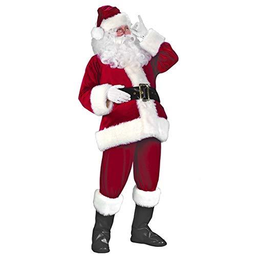 Santa Outfit Adult (Garne-T Santa Suit Christmas Santa Claus Costume for Men Women Xmas Santa Outfit (Wine)