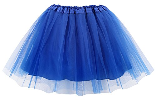 Simplicity Women's Classic Elastic 4-Layered Tulle Tutu Skirt,Royal Blue ()