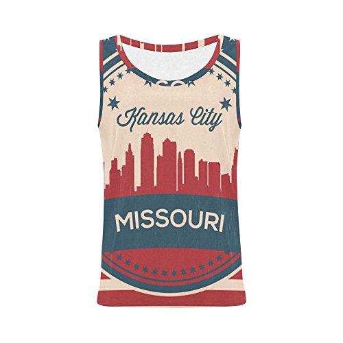 Vintage American Flag Missouri State Kansas Skyline Women's 3D Printed Tank Top