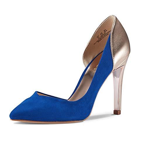 (JENN ARDOR Women's Pointed Toe Stiletto High Heel Pumps Ladies Patchwork D'Orsay Slip On Dress Party Shoes (8.5, Blue))