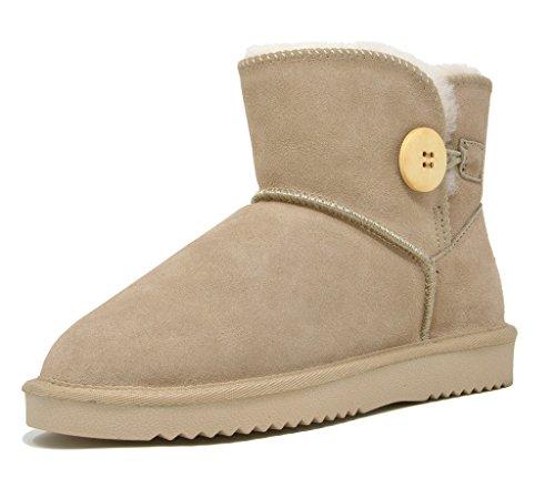 Sheepskin Pairs Dream Winter Ankle Button Boots Women's Sand Shorty Fur Snow High rwpIwq