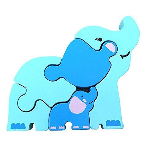Purplerain intelligent en bois Animal éducatif puzzle Early Learning Animal Jouet Fantastique Cadeau pour enfants (éléphant) un cadeau idéal pour Kid