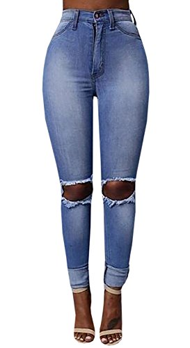 Cheap chimikeey Women Ripped Knee High Waist Stretch Skinny Jeans Denim Pencil Pants by supplier