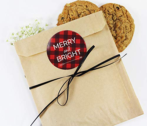 Holiday Cookie Favor Bag Set with Sticker and Satin Ribbon. Set of 25 Ready-to-Use, 8x6x1 Eco-Friendly Kraft Paper Party Gift Bags,Stickers & Ribbon. Brown, Black, Red, White