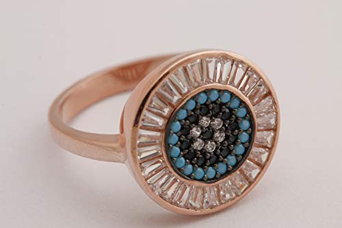 (Evil Eye Protection Design Turkish Nazar Handmade Good Luck 925 Sterling Silver Baguette Cut White Topaz and Round Cut Sapphire Turquoise Rose Gold Ring All Size)