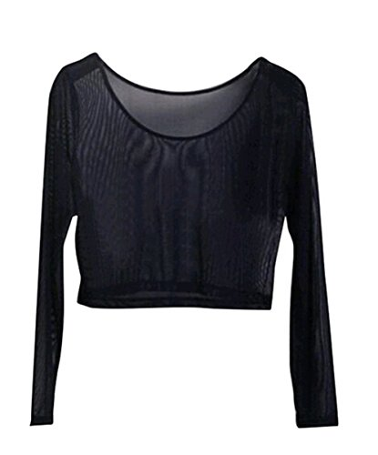 Ladies Crop Tops Womens Mesh Lace Fishnet Full Sleeve Stretch Perspective Vest T Shirt (L)