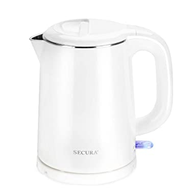 Secura Stainless Steel Double Wall Electric Kettle Water Heater for Tea Coffee w/Auto Shut-Off and Boil-Dry Protection, 1.0L, White