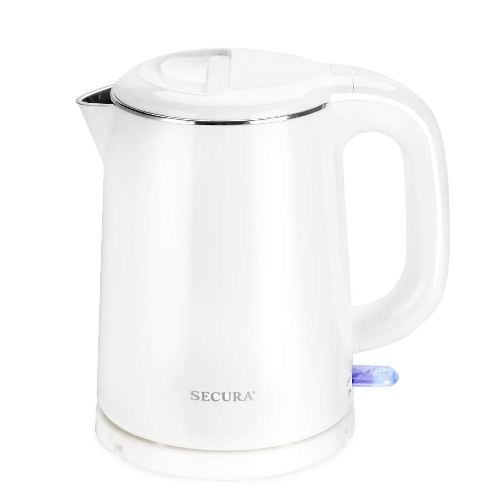 Secura Stainless Steel Double Wall Electric Kettle Water Heater for Tea Coffee w/Auto Shut-Off and Boil-Dry Protection, 1.0L, White by Secura (Image #1)