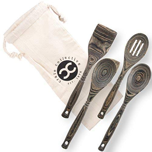 Black Olive Spoon - Crate Collective Pakka Wooden Spoons Set - Exotic Pakkawood Utensils for Serving & Cooking - Non-Stick Spoon, Slotted Spoon, Corner Spoon, and Spatula for All Cookware - Lightweight & Heat Resistant