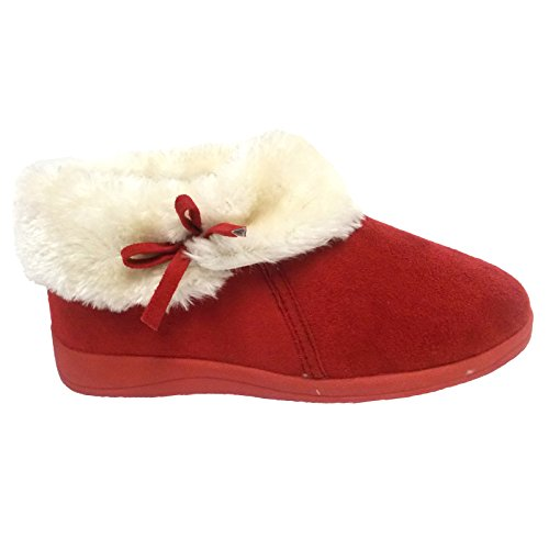 Bottines Chaussons Fourrure Dunlop Hiver Femmes Cheville Fausse Doublure Bessie Rouge 004Rpg