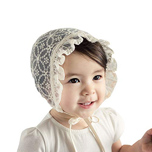 Baby Girl Toddlers Breathable Lacy Bonnet Eyelet Cotton Adjustable Sun Protection Hat (Pale Yellow-1)