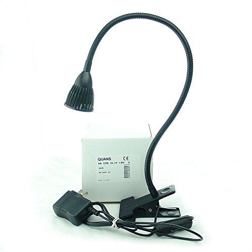 QUANS 5W Clip on Clamp Gooseneck COB LED Desk Table Light lamp Warm White 19inch Neck Black by QUANS
