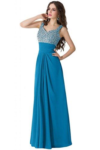 sunvary Spaghetti Correa Rhinestone Draped vestidos de volantes para Prom Noche Azul