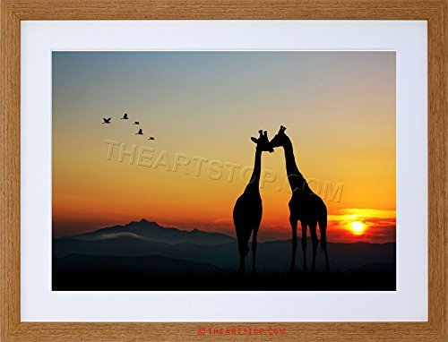 ANIMAL COMPOSITION GIRAFFES SILHOUETTE SUN Framed Wall Art Wall Picture Frames Wall Decor Pictures for Living Room Bedroom Office 30x40 cm by hiusan