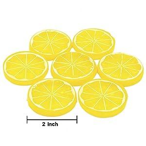 Hagao Fake Lemon Slice Artificial Fruit Highly Simulation Lifelike Model for Home Party Decoration Yellow Orange 10 pcs 2