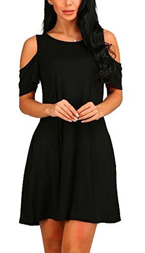 Shoulder Jaycargogo Summer Womens Cold Black Dress Loose Casual Mini Awwtr4q