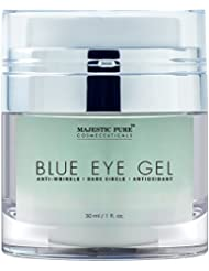 Majestic Pure Blue Eye Gel, Potent Anti Wrinkle and Dark Circle Eye Cream Formula for Skin Tone and Resilience, 1.0 fl. oz.