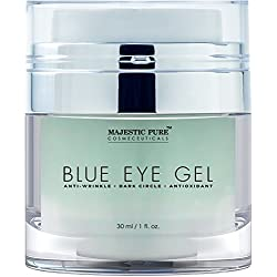 Blue Eye Gel from Majestic Pure, 1.0 fl. oz. - Potent Anti Wrinkle and Dark Circle Eye Cream Formula for Skin Tone and Resilience