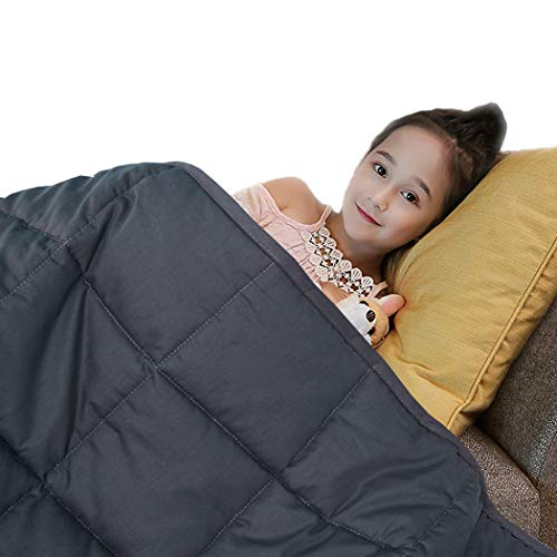 QueenKingHome Weighted Blanket 5 lbs for Adult Kids Teens | 100% Cotton Twin Size Heavy Blanket with Glass Beads for Children 40 to 60 Pounds (5lb 36'' x 48'')