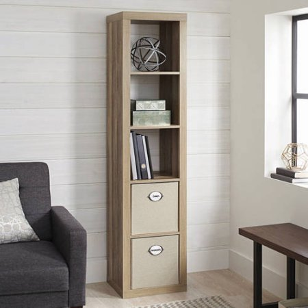 Better Homes and Gardens 5-Cube Organizer Weathered Storage Bookcase Bookshelf with Storage Bins Cream