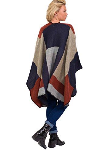 PILOT® la impresión de bloque del color del abrigo del cabo manta rojo vino