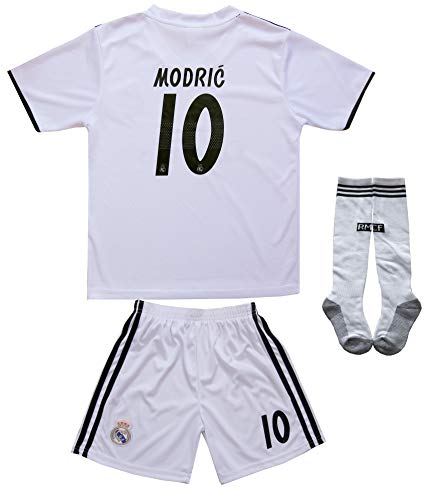 textface 2018/2019 Real Madrid #10 Modric Kids Home Soccer Jersey & Shorts Youth Sizes (10-11 Years)