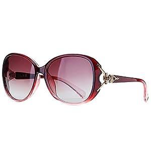 Head Sunglasses Womens Big Frame Polarized Glasses Classic Versatile Sunglasses Fashion Fox (Color : Red, Size : Free)