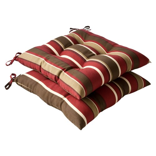 Pillow Perfect Indoor/Outdoor Red/Brown Striped Tufted Seat Cushion, (Weather Dining Chair Cushions)