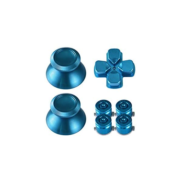 TOMSIN Metal Buttons for DualShock 4, Aluminum Metal Thumbsticks Analog Grip & Bullet Buttons & D-pad for PS4 Controller (Blue) 3