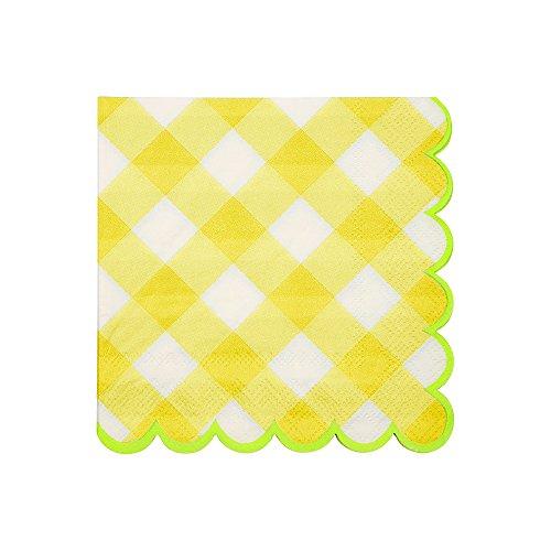Meri Meri Yellow Gingham Small Napkins (Napkins Gingham Yellow)