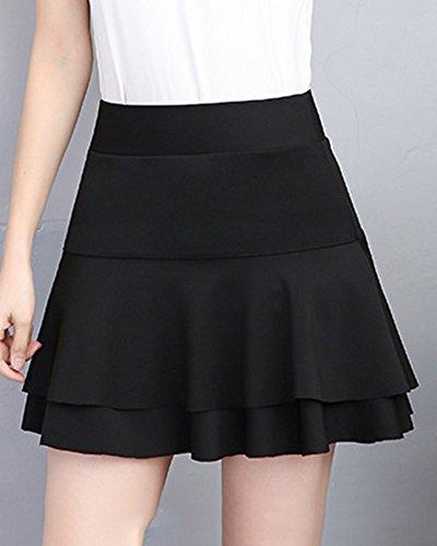 A Couleur Mini Noir Haute Jupe lasticit Ligne Pliss Femmes Jupes Unie Taille Court U0qBv