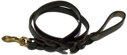 Signature K9 Braided Leather Leash, 4-Feet x 3/4-Inch, Black, My Pet Supplies