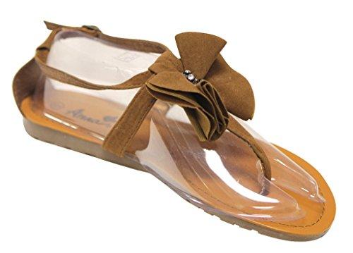 floral vivid Apple Sandals tie thong bow 7 Brown Anna Womens rhinestone HIFxxX