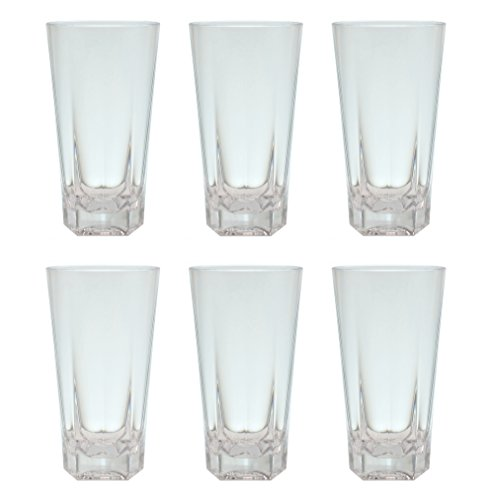 QG 19 oz Clear Acrylic Plastic Iced Tea Cup Drinking Glass Tumbler Pentagonal Heavy Base Set of (Heavy Base Ice Tea)