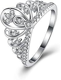 Cubic Zirconia CZ Princess Crown Tiara Ring Wedding Band Fashion Jewelry Engagement Ring Promise Ring for Women Girls