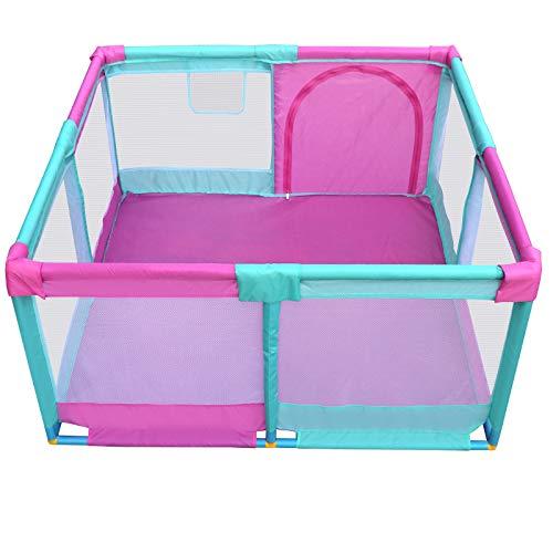 安全な幼児の遊び場ドア付き、アンチロールオーバーアンチコリジョンベビープレイヤード、エクストララージチャイルドルームディバイダー、128×128×66cm   B07KMBZBQ2