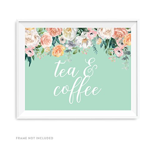 Andaz Press Peach Mint Green Floral Garden Party Wedding Collection, Party Signs, Tea & Coffee Reception Dessert Table Sign, 8.5x11-inch, 1-Pack