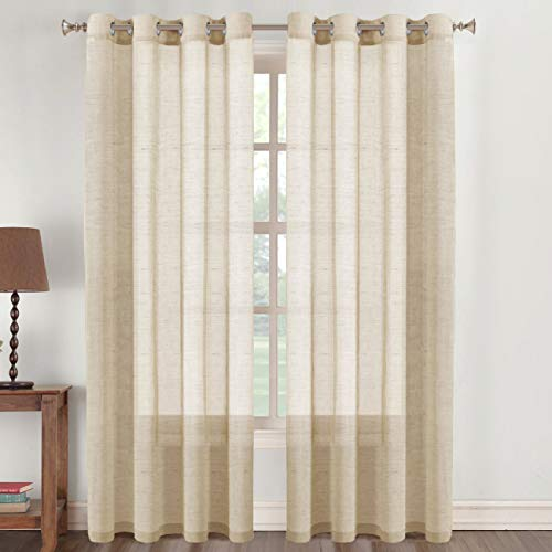 Beige Linen Sheer Curtains 96 Inches Long, Living Dining Room Semi Sheer Light Filtering Flowy Curtains, Rich Linen Textured Grommet Curtain Pair (2 Panel, Beige, 52 x 96 inch)
