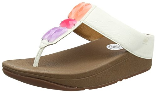 FitFlop Sweetie Womens Textile Beaded Toe-Post Wedge Sandals Shoes Urban White B0XoymcT0C
