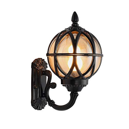 Modenny Aluminum Traditional Black Spherical Glass Lantern Wall Sconce Light European Garden Globe Shade Wall Lamp Patio Lighting Fixture Luxury Villa Courtyard Park Wall Spotlights ()