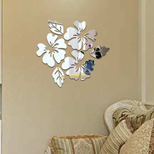 - Transer DIY Removable Mirror Wall Decal Stickers Art Mural Bedroom Decoration (Silver)