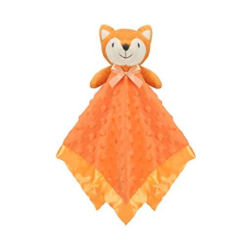 Pro Goleem Fox Baby Lovey Stuffed Plush Lovie/Security Blanket Minky Dot Fabric Blankie Best Gift for Newborn/Infant (15'', Orange)