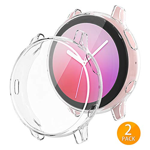 Tensea Compatible with Galaxy Watch Active 2 Case, 2 Packs Soft TPU Bumper Full Around Screen Protector Cover for Samsung Galaxy Watch Active 2 44mm (Clear, 44mm) (2 Case Galaxy)