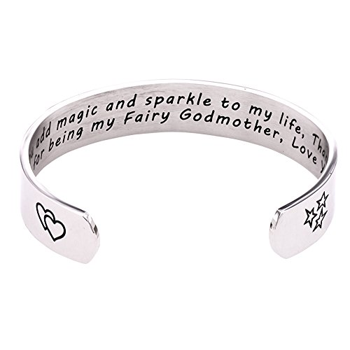 Melix Home You Add Maggic and Sparkle To My Life Bracelet, Gift for Godmother (White)
