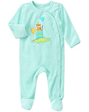 Baby Boy Soft Teal Zoo Party Terry One-Piece!